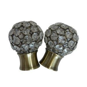 Image of Antique Brass Effect Metal Jewelled Ball Curtain Finial (Dia)28mm Pack of 2