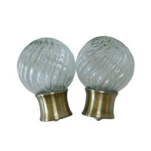Image of Antique Brass Effect Glass Ball Curtain Finial (Dia)28mm Pack of 2