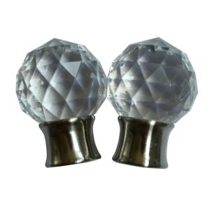 Flete Stainless steel effect Acrylic Facet Curtain finial (Dia)28mm Pack of 2