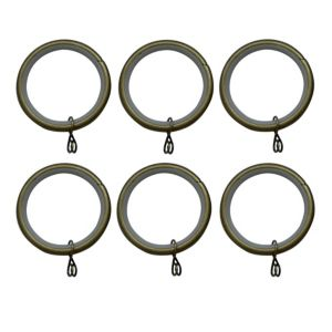 Image of Antique Brass Effect Metal Round Curtain Ring (Dia)35mm Pack of 6