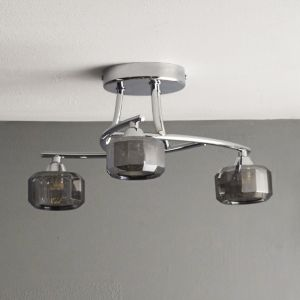 Image of Allyn Clear Chrome & Smoked Glass 3 Lamp Ceiling Light