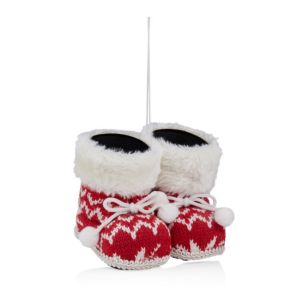 Knitted Red Nordic Boots Tree Decoration