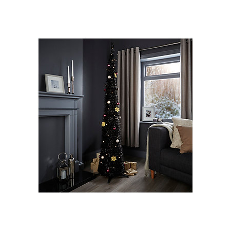 6ft pop up black pre lit pre decorated christmas tree departments diy at b q. Black Bedroom Furniture Sets. Home Design Ideas