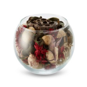 Red Potpourri In A Glass Bowl