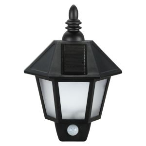 Blooma Polemos Black Black Lantern Solar Powered LED Pir Wall Light