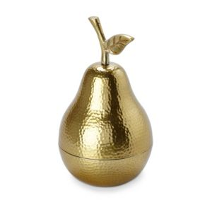 Image of Gold effect Pear Aluminium Trinket pot