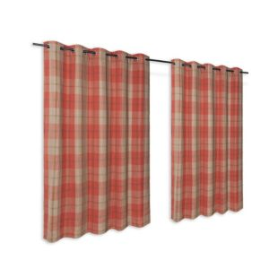 Orange Check Woven Eyelet Lined Curtains (W)167 cm (L)183 cm