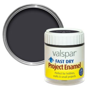 Photo of Valspar black flat matt enamel paint 59 ml