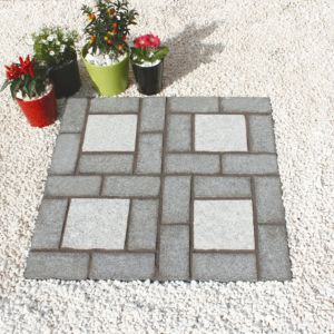 Image of Dark/Light Grey Granite Cobble Mat Square (L)400 (W)400mm Pack of 100