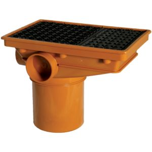 View Floplast Underground Drainage Rectangular Hopper & Grid (Dia)110mm, Terracotta & Black details