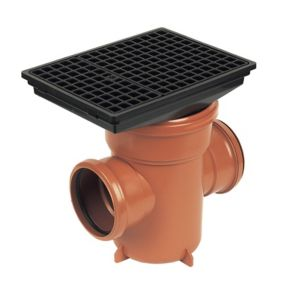 View Floplast Underground Drainage Back Inlet Bottle Gully (Dia)110mm, Terracotta & Black details