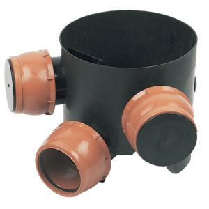 FloPlast Underground Drainage Mini access chamber base (Dia)300mm Black