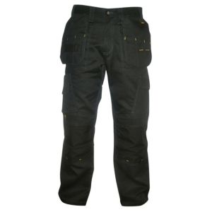 "Image of DeWalt Pro Canvas Black Nylon Work Trousers W32"" L31"""