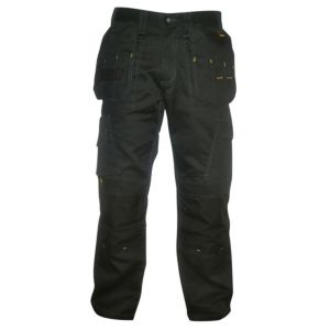 "Image of DeWalt Pro Canvas Black Nylon Work Trousers W32"" L33"""