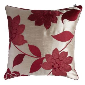 Image of Chartwell Annabel Floral Cream & Crimson Red Cushion