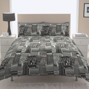 Chartwell City Scape Contemporary Black King Size Bed Cover Set