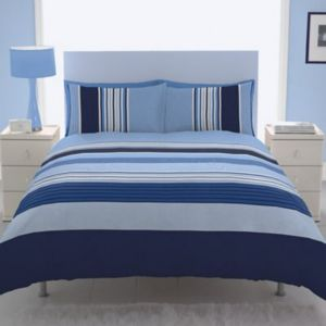 View Chartwell Barcode Blue Striped Kingsize Bed Cover Set details
