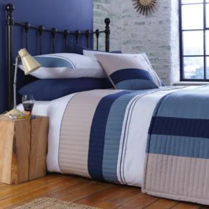 Chartwell Boston Striped Blue King Size Bed Cover Set