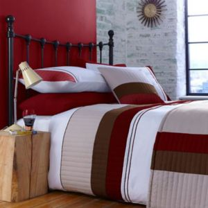 View Chartwell Boston Red Striped Kingsize Bed Cover Set details
