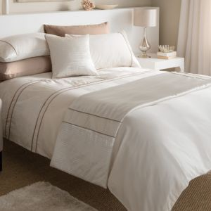 View Chartwell Como Cream & Salmon Pink Striped Double Bed Cover Set details