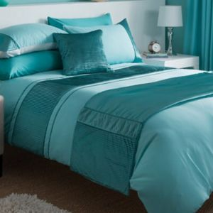 Chartwell Como Striped Turquoise King Size Bed Cover Set