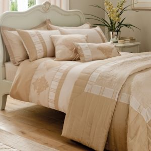 View Chartwell Heritage Salmon Pink & White Striped Kingsize Bed Cover Set details