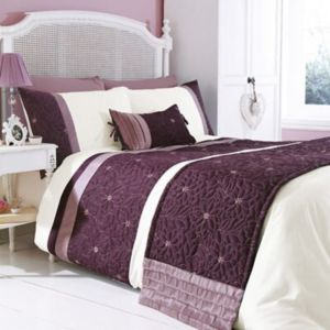 Chartwell Amy Floral Plum & White King Size Bed Cover Set