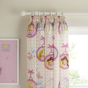 View Princess Locket Multicolour Character Pencil Pleat Children's Curtains (W)167.6cm (L)137.2cm details