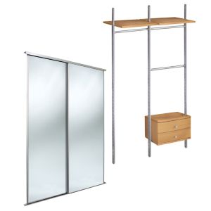 View Full Length Mirror Sliding Wardrobe Door Kit (H)2220 mm (W)610 mm details