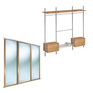 View Oak Framed Mirror Sliding Wardrobe Door Kit (H)2220 mm (W)762 mm details