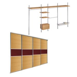 View Oak Effect & Red Glass Sliding Wardrobe Door Kit (H)2220 mm (W)914 mm details