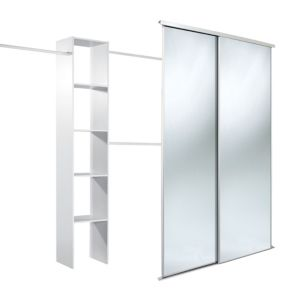 View Traditional Full Length Mirror White Sliding Wardrobe Door Kit (H)2220 mm (W)610 mm details