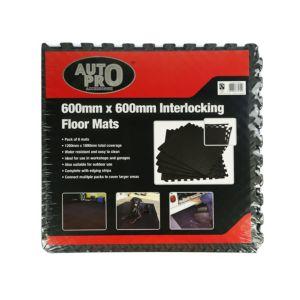 Image of Auto Pro Interlocking EVA Foam Black Floor Mats Pack of 6
