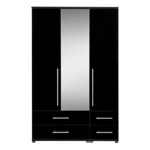 View Perla Black 3 Door 4 Drawer Wardrobe (H) 1.879 M (W) 1.204 M details