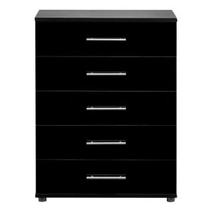 View Perla Black 5 Drawer Chest (H) 1.052 M (W) 804 mm details