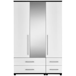 View Perla White Oak Effect 3 Door 4 Drawer Wardrobe details