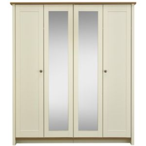 View Manor Vanilla & Oak Effect 4 Door Wardrobe (H) 1.932 M (W) 1.697 M details