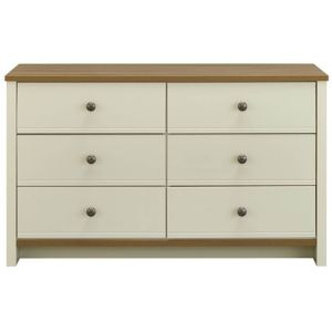 View Manor Vanilla & Oak Effect 6 Drawer Chest (H) 744 mm (W) 1.258 M details