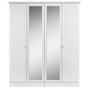 Image of Greenwich White 4 door Mirror wardrobe (H)1950mm (W)1670mm
