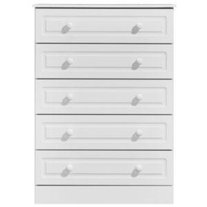 Image of Greenwich White Matt 5 Drawer Chest (H)1140mm (W)830mm (D)450mm