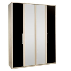 View Kingstown Tamzin Elm & Black 4 Door Mirror Wardrobe details