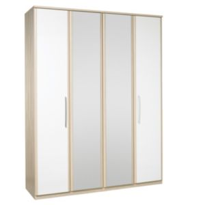 View Kingstown Tamzin Elm & White 4 Door Mirror Wardrobe details