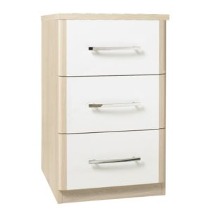 View Tamzin Elm & White 3 Drawer Narrow Chest (H) 66 cm (W) 40 cm details