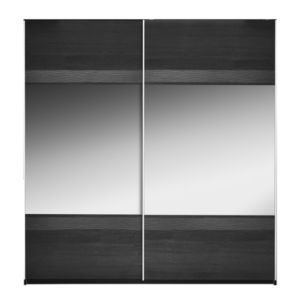 View Sophia Black Sliding Mirror Door Wardrobe (H) 210 cm (W) 200 cm details