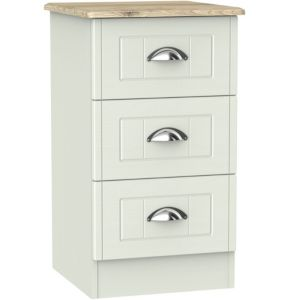 Image of Como Grey Oak effect 3 Drawer Bedside chest (H)700mm (W)400mm (D)410mm