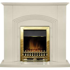 Image of Adam Cream Brass effect Electric fire suite