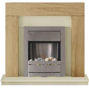 Image of Adam Cream Oak effect Electric fire suite