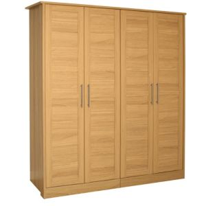 View B&Q Amber Oak Effect 4 Door Wardrobe details