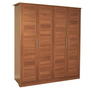 View B&Q Amber Walnut Effect 4 Door Wardrobe details