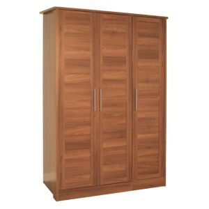 View B&Q Amber Walnut Effect 3 Door Wardrobe details